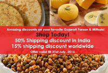 Buy Indian Snacks and Sweets Online / GujaratFood.com offers amazing discount on shipping charges! 50% and 15% shipping discount in India and foreign countries respectively!