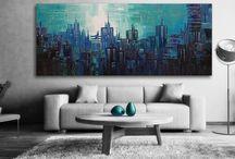 Abstrakta tavlor / Här inne hittar ni våra #moderna abstrakta tavlor i alla färger. #abstrakta #tavlor passar alla moderna hem och kontor. En #handmålad tavla ger alltid ett mer uttrycksfull intryck.