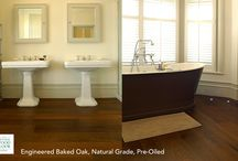 Bathroom Ideas | Wood Flooring / Wood flooring can look stunning in all types of bathrooms, from luxury designer rooms to smaller, functional en-suites. Engineered wood flooring is the best option as it's incredibly robust and strong so is more able to withstand the fluctuations in heat & humidity found in bathrooms.