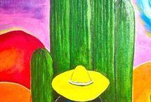 manualidadesen tela con dibujos de cactus y otros