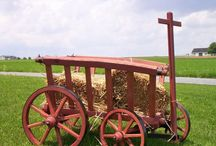 amish goat wagons / Amish Made Goat Wagons make lovely lawn decor, especially during the fall months.