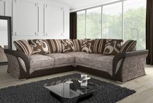 Luxury Corner Sofa Modern Classic Large Fabric Leather Home Living Room Brown