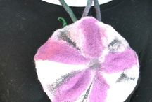 Felted accessories / Felted accessories are scarves, hats, jewelry, bags, hair bands, bracelets, brooches. All of them handmade, made of wool, or wool and silk. They are embellished with lace, yarn, gauze, silk bead, etc.All of the fiber art, one of a kind product