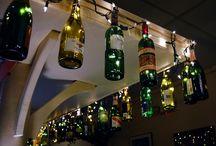 lights wine bottle