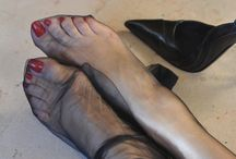Feet in sheer nylon / If you have a passion for pretty Feet in sheer Stockings and sexy High heels! If you love barefoot, shoeplay or footplay with lovely Feet encased in nylons!  / by Miss Nylon