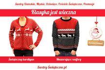 Klasyczne swetry świąteczne / Swetry z motywami świątecznymi w klasycznym stylu, damskie i męskie.