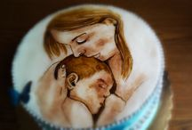 Mohter and her baby cake - hand painted