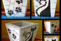 madeira e mosaico