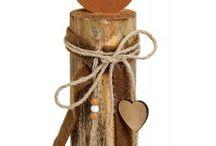 Holzkerzen mit Schleifchen
