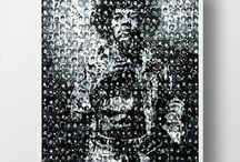 Pure Iconic! Jimi Hendrix. / The devil is in the detail.. This art is actually made up of hundreds of tiny pictures of Jimi Hendrix to create this iconic piece.