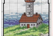 Keresztszemes minták (világítótornyok)
