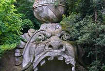 Bomarzo Parco dei mostri / The park was tranquil and serene with sunlight seeping through the lush green canopies of tree. We could not understand at first why the park was named 'Parco dei Mostri' or the Park of the Monsters https://goo.gl/FJCNtu