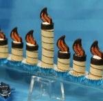 Chanukah Ideas / edible menorah using cannolis
