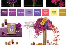 Flower Trends: Majestic 2015 / The regal and romantic couple will find the Majestic theme, rich in the shades of violet and purple, to be magical and amorous.   A polished aesthetic and sheer romantic style that combines the natural brilliance of the luster of gold with orchids, roses and carnations in deep plums, bright violets and lavenders.