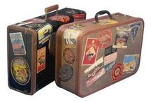Vintage stamped/sticker luggage