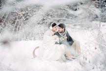 zimowe sesje ślubne