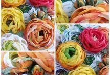 Цветы из ткани и бумаги