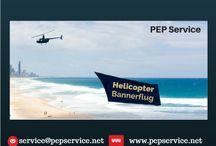 Helicopter Bannerflug / Luftwerbung mit ca. 2000 qm  Werbefläche, auf der IHR Name steht.