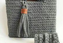 bolsa fio de malha com couro cinza