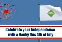 July 4th - Independence from Paper Tissues / Use July the 4th as a great reason to gain independence from using one-time-only paper facial tissues to washable, re-usable organic handkerchiefs!