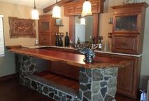 Completed Bars Using Bar Rail from Hardwoods Inc. / Our finshed bar gallery displays both home and commercial bars hand crafted by DIYers, commercial builders and home owners utilizing our bar rail moldings, bar top parts, bar front parts and natural edge bar top slabs.