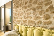 Mediterranean wall design / Mediterranean wall design with artificial stone panels and stone veneers. These materials are for interior and exterior walls.