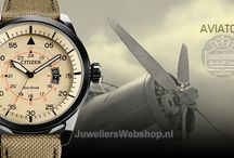Citizen Aviator horloges / Citizen Eco-Drive heren horloges met een Pilot look