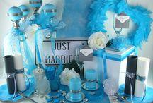 Mariage bleu lagon / Plongez dans le grand bleu et subjuguez vos invités avec cette décoration de table originale ! Vous couperez l'uniformité du bleu à l'aide d'éléments argent ou métallisés par un résultat bluffant !