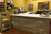 Cash counter-reclaimed wood look