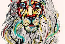 kolorovaná perokresba