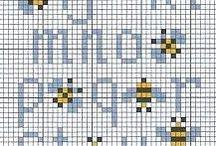 Vyšívání - včely / Včely, čmeláci, med