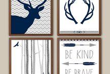 Nursery Themes ~ Woodland Boy Navy Blue / by Sunnyside Designs