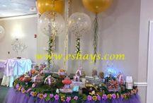 Party Decorations Baby Shower Decor / These listed party decorations can be for baby showers or  wedding decorations or birthday decorations. #tableskirt #tabledecor #tulleskirt #babyshowerdecor