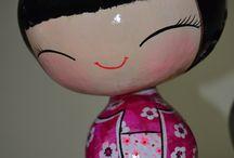 kokeshi / muñecas hechas en calabazas