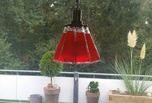 camparisoda Flaschen Lampe / aus Camparisodaflaschen zusammen gebaut