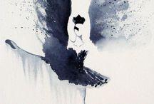 Black bird & White swan / Les personnages principaux du Lac des cygnes réinterprétés à l'aquarelle Pauline Art Gallery