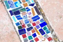 Mosaics, stepping stones, stones, garden ideas, carving