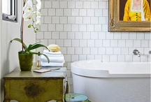 The Bathroom Sanctuary / We love the idea that your bathroom can be a sanctuary. We love a deep tub, amazing tile work, soothing colors and some great bath textiles... Interior design, shower, tiles, tile work, towels, sink, simple design, minimal, boho, relaxing, self care, soak, spa