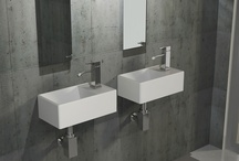 Washbasins for small bathroom / Μικροί νιπτήρες για να εξυπηρετήσουν κάθε μπάνιο με μικρές διαστάσεις. Τα 2 μοντέλα έχουν σχήμα ορθογώνιο και μπορούν να τοποθετηθούν σαν Επίτοιχοι η σαν Επικαθήμενοι.