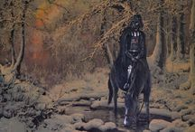 """Hilariously Adds Random Characters Into Discarded Thrift Store Paintings / Just when you thought there was no hope for discarded thrift store paintings, they prove their worth.Artist David Irvine has managed to turn these once hopeless paintings into something worthy of your attention by inserting pop culture characters, celebrities, and memes into the forgotten paintings.From Darth Vader to Vincent Vega in """"Pulp Fiction,"""" Michael Meyers and much more, here are 11 fantastic thrift store paintings that have been transformed."""