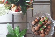 decoração natalina com plantas naturais .