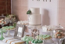 Mint wedding dessert table