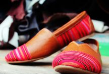 Hand-woven shoes / Handmade shoes from traditional hand-woven material and pull up leather