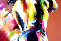 Peintures Christian Vey /  CHRISTIAN VEY nous offre une très belle suite de tableaux vivants dont les thèmes principaux sont le jazz et la Femme, conçus comme des feux d'artifices, éclatés en une myriade d'étincelles dont chacune consolide le rythme dans sa couleur musicale.  Ses hommes et les femmes dansent et se balancent, débordant des frontières de ses peintures; on peut presque entendre le cri d'un saxophone, au rythme d'un tambour.