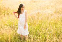 Gloomth Gold / Summer photoshoot featuring Alison Douglas in a golden summery field, long grass, Shalott nightdress