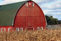 Barn / Old  Farmhouse Antique Red Green Rustic Hay Loft Hay Bales Loft Swing