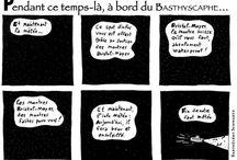 Pendant ce temps-là, à bord du Bathyscaphe… / Comix publié en ce moment dans la revue québecoise Le Bathyscaphe, à raison d'une planche par numéro (et d'un numéro par an…). http://lebathyscaphe.blogspot.fr/