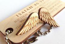 wooden lazer cut angels