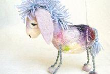 Handmade felt horses