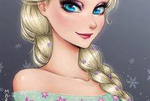 Princesas da Disney em estilo anime